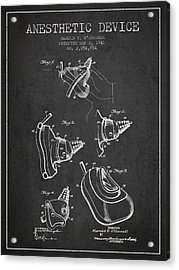 Anesthetic Device Patent From 1941 - Charcoal Acrylic Print by Aged Pixel