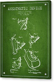 Anesthetic Device Patent From 1941 - Green Acrylic Print by Aged Pixel