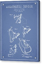 Anesthetic Device Patent From 1941 - Light Blue Acrylic Print by Aged Pixel