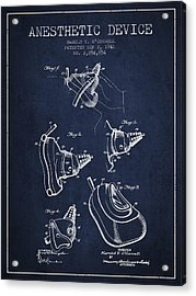 Anesthetic Device Patent From 1941 - Navy Blue Acrylic Print by Aged Pixel