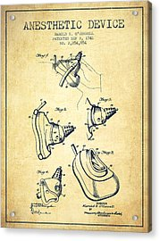 Anesthetic Device Patent From 1941 - Vintage Acrylic Print by Aged Pixel