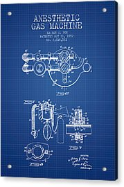 Anesthetic Gas Machine Patent From 1952 - Blueprint Acrylic Print by Aged Pixel