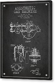Anesthetic Gas Machine Patent From 1952 - Charcoal Acrylic Print by Aged Pixel