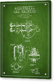 Anesthetic Gas Machine Patent From 1952 - Green Acrylic Print by Aged Pixel
