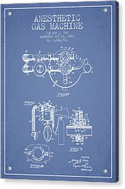 Anesthetic Gas Machine Patent From 1952 - Light Blue Acrylic Print by Aged Pixel