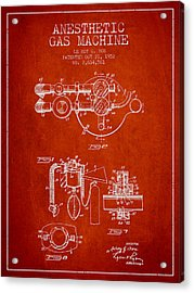 Anesthetic Gas Machine Patent From 1952 - Red Acrylic Print by Aged Pixel