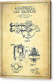 Anesthetic Gas Machine Patent From 1952 - Vintage Acrylic Print by Aged Pixel