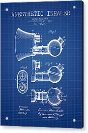 Anesthetic Inhaler Patent From 1903 - Blueprint Acrylic Print by Aged Pixel
