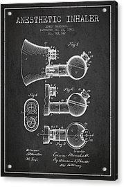 Anesthetic Inhaler Patent From 1903 - Charcoal Acrylic Print by Aged Pixel
