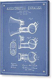Anesthetic Inhaler Patent From 1903 - Light Blue Acrylic Print by Aged Pixel