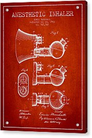 Anesthetic Inhaler Patent From 1903 - Red Acrylic Print by Aged Pixel