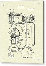 Anesthetic Machine 1919 Patent Art Acrylic Print
