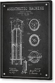 Anesthetic Machine Patent From 1903 - Charcoal Acrylic Print by Aged Pixel