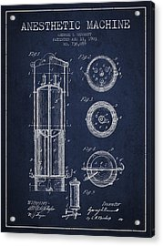 Anesthetic Machine Patent From 1903 - Navy Blue Acrylic Print by Aged Pixel