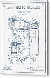 Anesthetic Machine Patent From 1919 - Blue Ink Acrylic Print