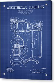 Anesthetic Machine Patent From 1919 - Blueprint Acrylic Print by Aged Pixel