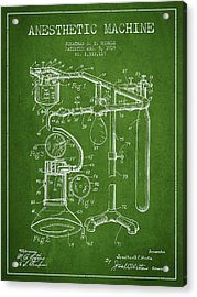 Anesthetic Machine Patent From 1919 - Green Acrylic Print by Aged Pixel