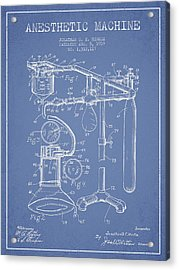Anesthetic Machine Patent From 1919 - Light Blue Acrylic Print