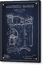 Anesthetic Machine Patent From 1919 - Navy Blue Acrylic Print by Aged Pixel