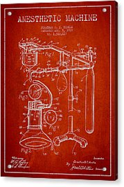 Anesthetic Machine Patent From 1919 - Red Acrylic Print by Aged Pixel