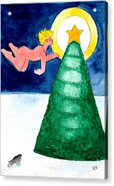 Angel And Christmas Tree Acrylic Print by Genevieve Esson