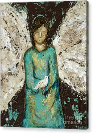 Angel  And  Dove Acrylic Print by Kirsten Reed