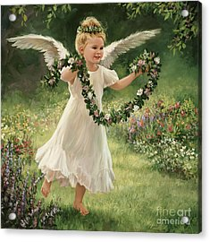 Angel And Garland Acrylic Print by Laurie Hein
