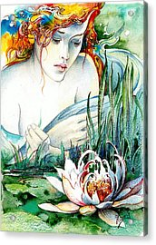 Acrylic Print featuring the painting Angel And Lily by Anna Ewa Miarczynska