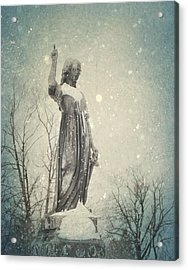 Snowy Gothic Stone Angel Acrylic Print by Gothicrow Images