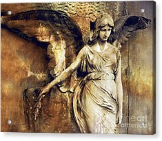 Angel Art - Surreal Gothic Angel Art Photography Dark Sepia Golden Impressionistic Angel Art Acrylic Print by Kathy Fornal