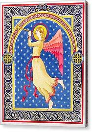 Angel Blowing Trumper Acrylic Print by Lavinia Hamer