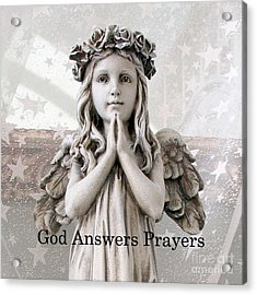 Angel Girl Praying - Christian Angel Art - Little Girl Praying Angel Art - God Answers Prayers Acrylic Print by Kathy Fornal