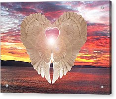 Acrylic Print featuring the digital art Angel Heart At Sunset by Eric Kempson