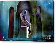 Angel Mourning Sadness - Haunting Fantasy Surreal Angel Art Teal Aqua Purple  Acrylic Print by Kathy Fornal