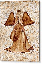 Angel Of Hope Original Coffee Painting Acrylic Print by Georgeta Blanaru