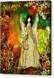 Angel Of Light Christian Inspirational Mixed Media Artwork Of Angel Acrylic Print