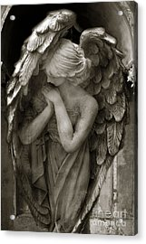 Angel Photography - Dreamy Spiritual Angel Art - Guardian Angel Art In Prayer  Acrylic Print