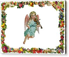 Angel Playing The Lute Acrylic Print by Munir Alawi
