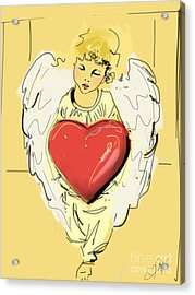 Acrylic Print featuring the painting Angel Red Heart by Go Van Kampen