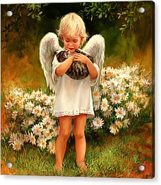 Angel With Cat Acrylic Print by Laurie Hein
