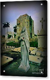 Angel With Rose Acrylic Print by John Malone