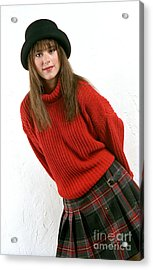 Angela Plaid Skirt Acrylic Print by Gary Gingrich Galleries