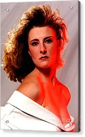 Angela Red Leather Acrylic Print by Gary Gingrich Galleries