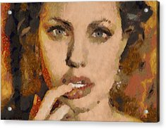 Angelina Jolie Klimt Style Digital Painting Acrylic Print