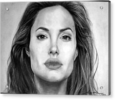 Angelina Jolie Original Pencil Drawing Acrylic Print by Murni Ch