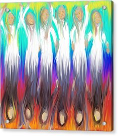 Acrylic Print featuring the painting Angels 3 26 2014 by Hidden  Mountain