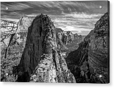 Angel's Landing In Black And White Acrylic Print