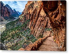 Angels Landing Trail From High Above Zion Canyon Floor Acrylic Print