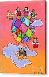 Angels With Hot Air Balloon Acrylic Print by Sarah Batalka