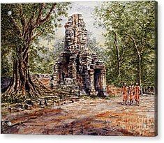 Angkor Temple Gate Acrylic Print by Joey Agbayani